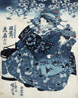 1530 .Winter Fashion. Blue Asian vintage POSTER. Decorative Art.