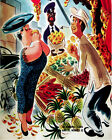 1604 Lady buying from street vendor vintage POSTER. Wall Decorative Art.Seller