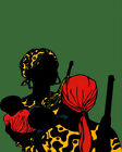 1687 Two african mothers holding their babies & shotguns POSTER. Decorative Art.