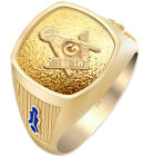 Customizable Men's Open Back 10k 14k Gold Blue Lodge Freemason Masonic Ring