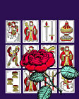 1736 Red rose on playing cards quality POSTER. Purple Decorative Art.Wall Decor