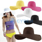 New Women Wide Large Brim Floppy Fold Summer Beach Sun Straw Beach Derby Hat Hot