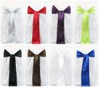 """200 Satin Chair Sashes Bows 6"""" x 108"""" 30 Colors Made in USA Wedding Banquet"""