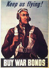 "Tuskegee Airman - Buy War Bonds- 20""x32"" Art on Canvas"