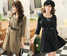 New Womens Flouncing Cropped Sleeve Lace Cuff Lady Mini Dress With Belt 1931#