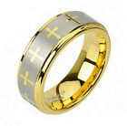 Tungsten Ring Wedding Gold Cross Inlay Size 9,10,11,12,13 (f18)