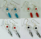 925 SILVER EARRINGS - DREAM CATCHER DESIGNS - BLACK, RED, TURQUOISE