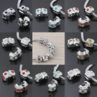 Inlay Crystal 18KGP Stopper Clip/Lock European Charm Beads Findings Fit Bracelet