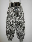 BNWT Girls Leopard Balloon Trousers with Faux Buckle Ages 4 - 9/10