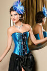 Sexy Ladies/Womens Front Embroidery and Bow Blue Satin Floral Lace Corset Basque