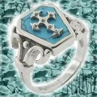 New Steel Gothic Cross Turquoise Inlay Coffin Men's Ring