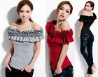 Korea Womens Off Shoulder Multi-Level Flounced Neck Lady Tops T-shirts 9692#