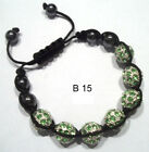 Shamballa Crystal Disco Ball Rhinestone Clay Cord Macrame Friendship Braclet