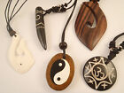 Surf style pendant necklace hand carved wood or bone surf board or heart shape