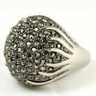 Marcasite Swarovski Crystal Cauliflower White gold GP silver color Ring J62