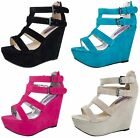 WOMENS WEDGE HEEL PLATFORM STRAPPY SANDALS LADIES WEDGES FAUX SUEDE SHOES  3-8