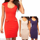 new Womens Casual Career Wear to work PENCIL A dress S M L XL RED PURPLE apricot