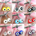 Wholesale Lot 9pcs Silver Evil Eyes European Spacer Charm Beads For Bracelet