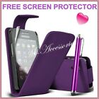 ★ NEW PURPLE PLUM FLIP PU LEATHER CASE COVER POUCH FOR ALL MAJOR MOBILE PHONES ★