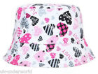Childrens Girls Love Heart Print Reversable Bucket Hat Bush Floppy Summer Cap