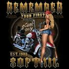 REMEMBER YOUR FIRST SOFTAIL EST 1903 RIDER BIKER HOODIE L TO 4X BLACK
