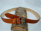 "Barsony Heavy Duty Saddle Tan Leather Basket Weave Belt 1.5"" Size 61-62"