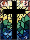 """211.Cuban Quality Design Religion poster""""Christian Cross with Vitrales.Wall Deco"""