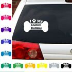 I Heart Love My English Bull dog decal sticker Dogs Puppies