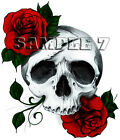 Skull & Roses Iron On Transfer for light, cotton/mix fabrics Ref OTN1G