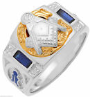 Mens 0.925 Sterling Silver Gold Masonic Freemason Mason Ring