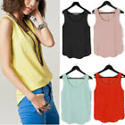 Womens Chiffon Ladies Sleeveless Vest Tshirt  Blouse Asymmetric Tank Top