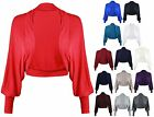 New Ladies Batwing Shrug Long Sleeve Womens Jersey Bolero Cardigan Top Size 8-14
