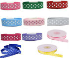 "5y 15y 25y 50y 100y 9mm 22mm Swiss Polka 3 Dots Grosgrain Ribbon 3/8"" 7/8"" Eco"