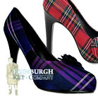 "TWO GENUINE SCOTTISH TARTANS - 4.5"" HIGH HEEL PLAID COURT SHOES - SIZE UK 3-7!"