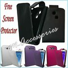NEW FLIP PU LEATHER CASE COVER POUCH FOR SAMSUNG MOBILE PHONES + SCREEN GUARD