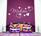 Love Hearts Girls Personalised Any Name Bedroom Wall Art Mural Decal Sticker