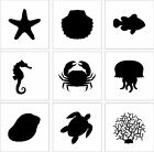 Set of 9 Stencil Cake Decoration Airbrush Tattoos Pattern Sea Animals Fish