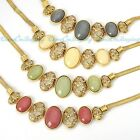 4 Colors Vintage Golden Chain Oval Pattern Hollow Acrylic Beads Pendant Necklace