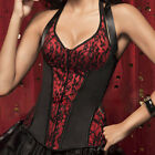 New Sexy Womens Satin Lace Halter V-Neck Corset Top Bustier IN S M L XL 2XL SIZE