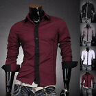JS Men's Fashion Designer Slim Contrast Dress Shirts Tops Casual J8015 4 Colors