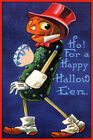 PUMPKIN DIAMOND HEART BOY HO FOR A HAPPY HALLOWEEN VINTAGE POSTER REPRO