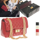 CELEBRITY DOUBLE FLAP NEW CHAIN GOLD QUILTED SHOULDER BAG REAL LAMBSKIN LEATHER