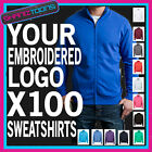 WORKWEAR BUSINESS COMPANY ZIPPED SWEATSHIRT EMBROIDERED FULL COLOUR LOGO X100
