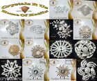 VINTAGE FASHION BROOCH PIN BADGE BLING CRYSTAL DIAMANTE BOUQUET WEDDING BRIDAL