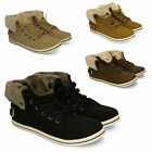 womens ladies new flat pumps trainers faux collar lace up ankle boots shoes size