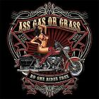ASS GAS OR GRASS NO ONE RIDES FREE BIKER POCKET TEE OLD SCHOOL PINSTRIPING