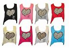LADIES LEOPARD HEART PRINT THERE WAS A GIRL CROP TOP VEST SIZE 6 TO 14