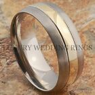 Titanium Wedding Band 14K Gold Men's Ring Bridal Jewelry Brushed Size 6-13