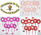 FABRIC GLITTER DADDY GIRL BALLOON iron-on CUSTOMIZE BLING DIY BABY CLOTHE PATCH