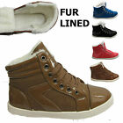 Womens Girls High Hi Top Casual Trainers Fur Flat Lace Up Ankle Pumps Shoes UK